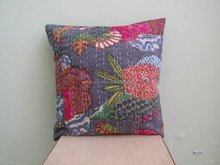 Tropical Kantha Handmade Cushion Cover Home Furnishing and Decorative Item Manufacturer from Jaipur