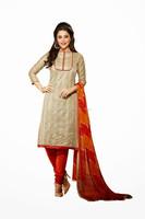 Litegray color with Orange pant & Orange Red printed dupatta Designer Unstitch Salwar Kameez