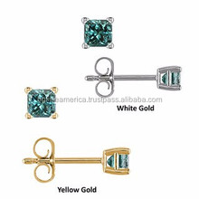 Fashion Design Platinum Plated/Yellow Gold Plated Cubic Zirconia Stud Earrings