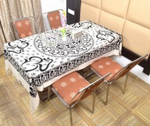 Indian Cotton Table Cloth Black & White OM Printed Dinning Table Cloth Vintage Wall Hanging Throw Bed Sheet Cover TC26