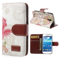 Red Butterfly & Flowers Magnetic Leather Flip Cover w/ Card Slots & Stand for Samsung Galaxy S4 mini I9190