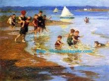Impressionist Bathroom Wall Art Beach Children Oil Painting