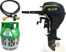 Free shipping for Used Lehr 15hp Propane Outboard Short Shaft Tiller Electric Ib 17lb Tank