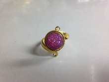 Natural Drusy Jewelry Dyed Pink 11 mm Round Drusy Rings
