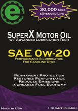 SuperX Motor Oil 0w20 - Qt