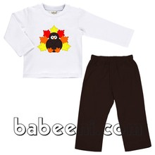Cute turkey applique boy set for Thanksgiving - BC 553