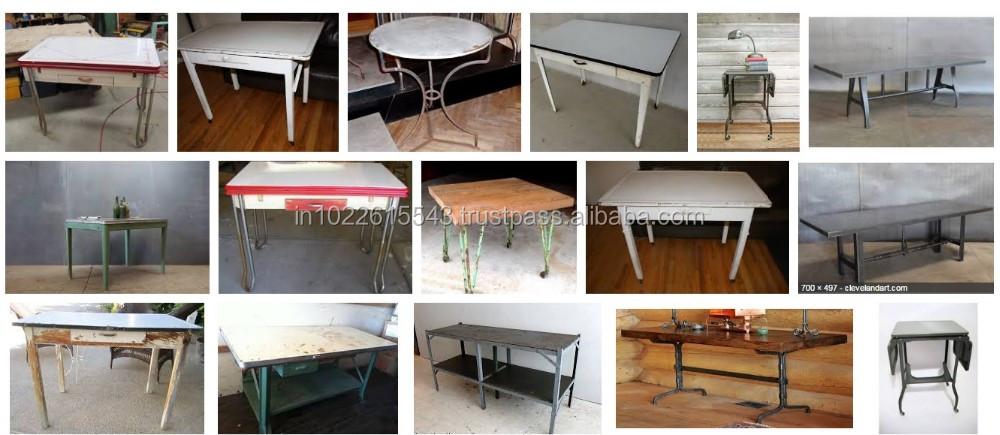 산업 금속 나무 책상, 빈티지 산업 금속 나무 책상 테이블--상품 ...