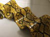 Genuine Python Snake Skin Leather Material Hide Glossy Yellow