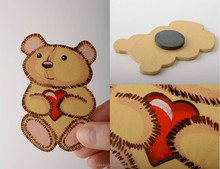Handmade decorative wood fiberboard fridge magnet painted with acrylics toy bear