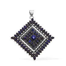 NATIVE ART WORK 92.5 STERLING SILVER PENDANT WITH LAPIS LAZULI GEMSTONE 92.5 STERLING SILVER PENDANT