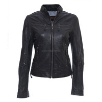 Sheep/Lamb Skin Leather Jacket Women Motorcycle New Womens/Ladies Biker Soft Black Jacket