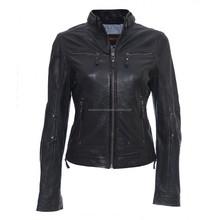 Sheep/Lamb Skin Leather Jacket Women Motorcycle New Womens/Ladies Biker Soft Black Jacket