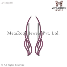 925 Sterling Silver Pave Ruby Ear Cuff, Feather Design Ruby Gemstone Ear Cuff Jewelry, Handmade 925 Jewelry Manufacture
