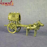 Antique Bullock Cart - Home Decor - Bronze Alloy Bell Metal Miniature Sculptures - Indian Style Dhokra Miniature Decorative