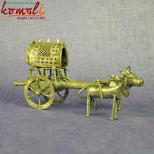 Antique Bullock Cart - Home Decor - Bronze Alloy Bell Metal Miniature Sculptures - Indian Style Dhokra Miniature Decorative