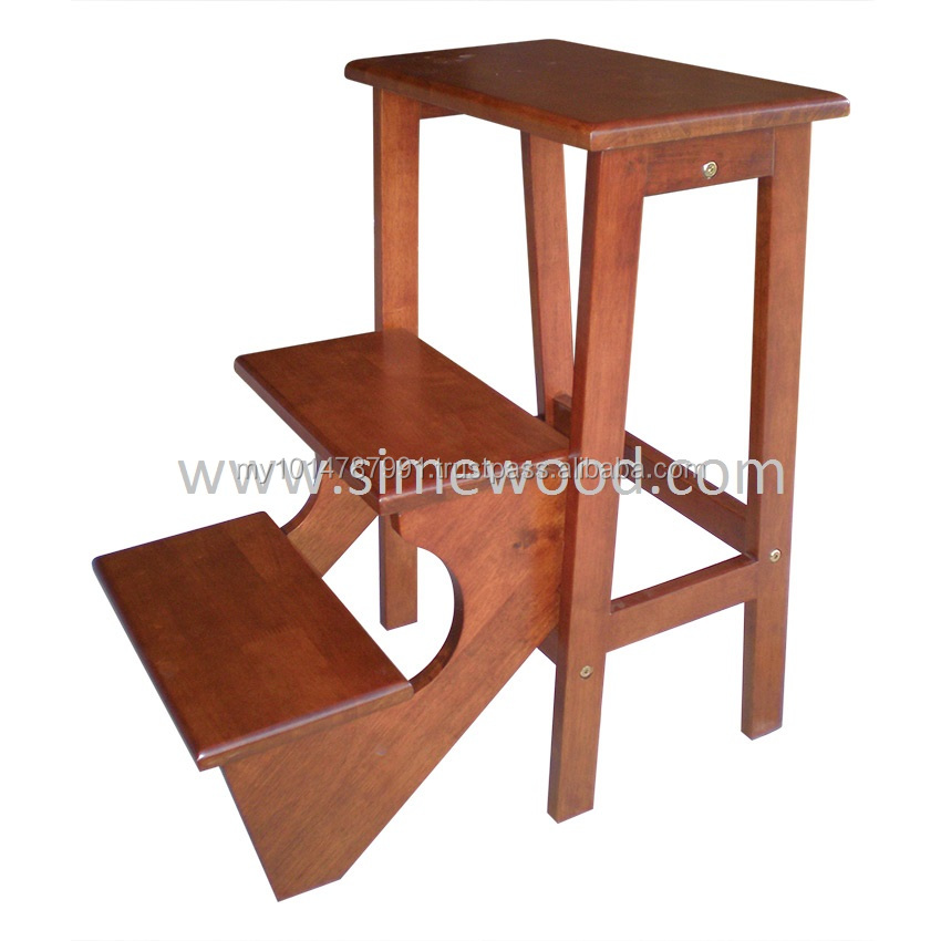 Wooden Foldable Step Stool Chair Ladder Utility Stool