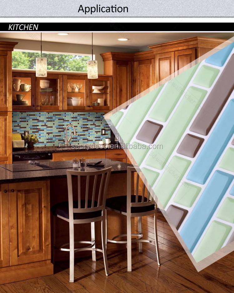 Alto brillo apariencia 3d adhesivo de vinilo azulejo de mosaico ...