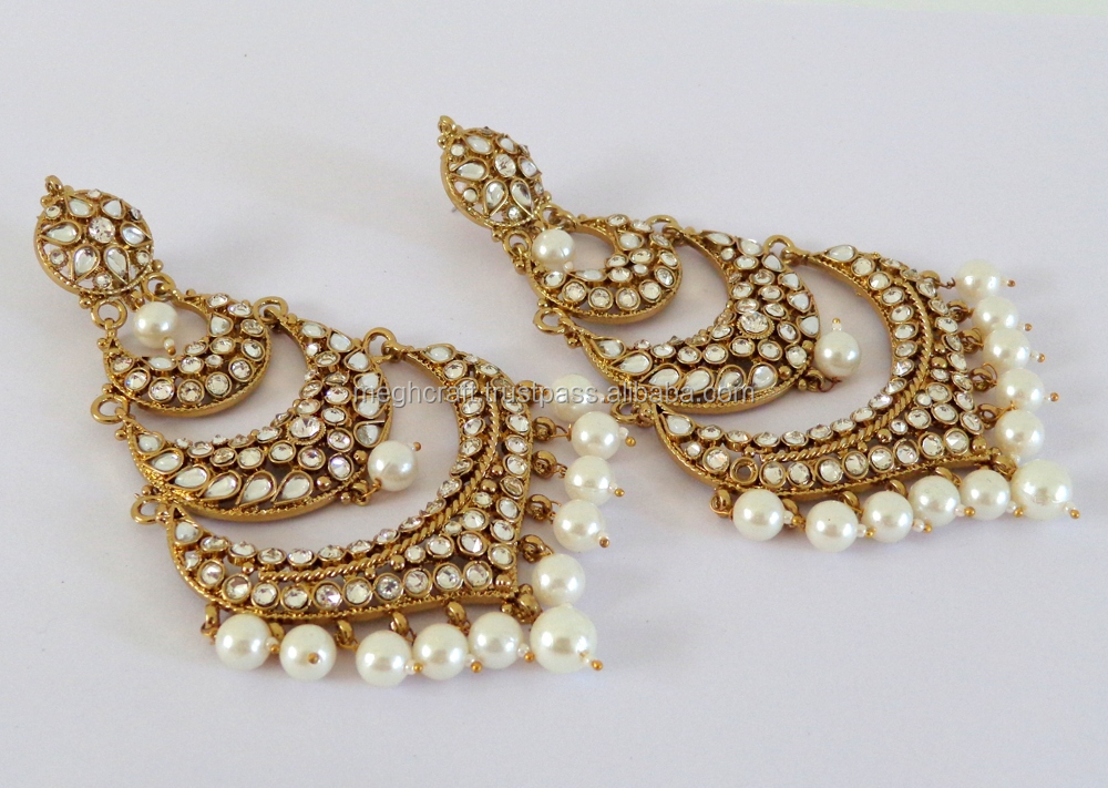 2015 punjabi chandelier earrings wholesale kundan