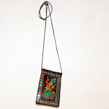 Mirror Work Embroidered Cotton Cross body bag For Mobile, Tab