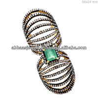 925 Silver Emerald Slave Cage Ring 14k Gold Pave Diamond Fashion Full Finger Ring Gemstone Jewelry Wholesale