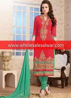 Red georgette unstitch salwar kameez with straight suit style wholesale salwar