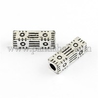 Antique Silver Acrylic Large Hole Beads, Cuboid with Special Pattern, 20x6x6mm, Hole: 4mm; about 1010pcs/500g OPDL-R039-08AS