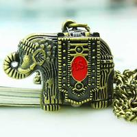 Watch Necklace Zinc Alloy Elephant 35x25mm Sold Per Approx 31 Inch Strand