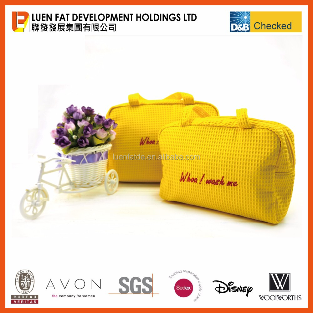 Hot Sales Beauty case travelling cosmetic bag waffle material