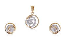 STYLISH 0.52 CTS NATURAL DIAMONDS PENDANT EARRINGS JEWELERY SET IN SOLID BIS HALLMARK 18KT YELLOW GOLD AT FACTORY PRICES