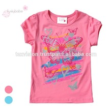 Buena calidad de manga corta para Junior Butterfly Girls impreso T-shirt Gildan