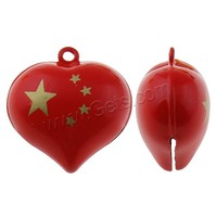 Brass Bell Pendants Heart painted red nickel lead & cadmium free 27x27x16mm Hole:Approx 1.5mm Sold By PC