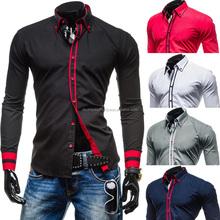 Premium slim fit long sleeve men's casual stand-up collar shirt