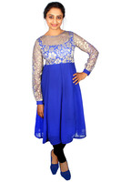 Brasso And Crape Lining Blue & Gold Kurti