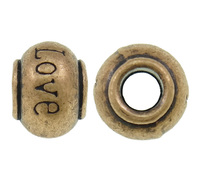 Zinc Alloy Pan Beads Drum word love antique copper color plated without oll nick lead & d free 8x12x11mm Hole:Appr 4.5mm pr 320P