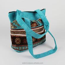 Beautiful turquoise Kilim design tote bag from Turkey E100053