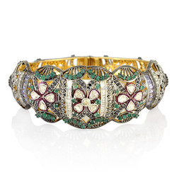 New Design 18k Gold Rose Cut Diamond Emerald & Tanzanite Gemstone Cuff Bangle Gemco Designs Jewelry