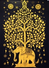 Elephant Tree black gold Tapestry Indian Hippie Wall Hanging Bohemian bedspread college dorm student india bed gold