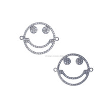 Single Cut Pave Diamond Fashion Smiley Connector Findings New Trendy Stylish connector Findings Jewelry Accessories Manufacturer