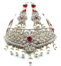 Attractive Jewelry Sets American Diamond beaded bridal set fashion necklace set Red Gemstone Fashionable Designer Jewelry