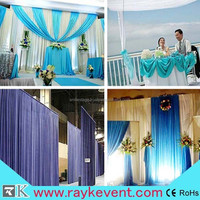 Singapore backdrop pipe drape pipe and drape curtain for wedding background with aluminum poles supporting