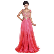 Indian Party Wear Designer wholesale Pink golden Orange evening dress, sale evening dress, 2010 evening dress