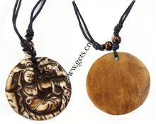 Buddhist Jewelry klace Resin with W Cord t Round yak bone 47mm Sold Per 17 Strand