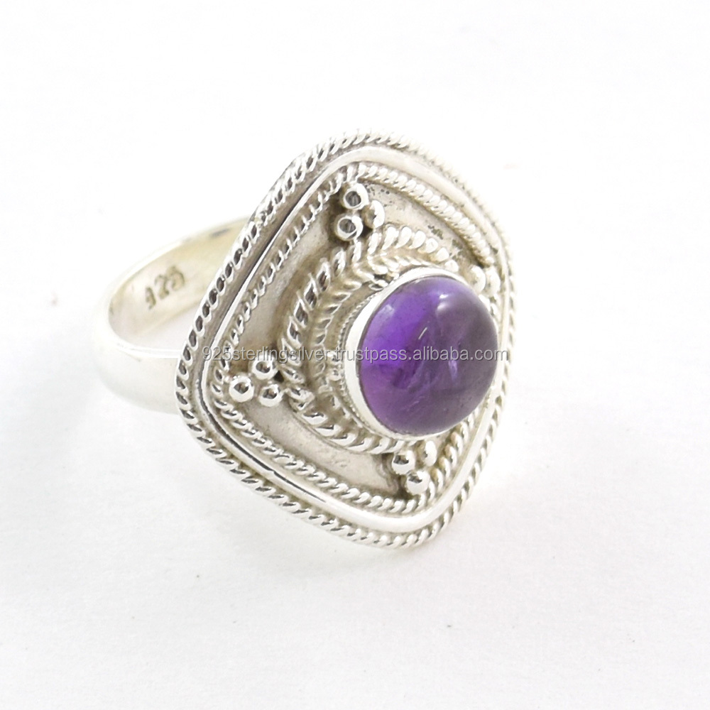 silver 925 jewelry amethyst rings wholesale jewelry