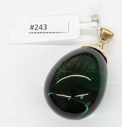 Green Caribbean Amber (585 Gold) Pendant 13,6gr #243