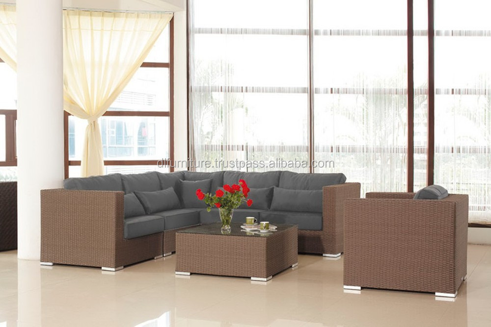 New Design Poly Rattan Sofa Used Wicker Furniture Outdoor