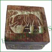 Elephant sculptured box old antique wooden box white powder mix antique wooden box