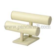 Colonna sintetico legno rivestita in tela t barra di visualizzazione braccialetto stand, lemonchiffon, 160x240x140mm bdis- n006- 2