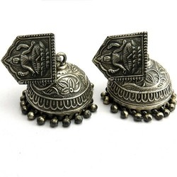 Lord Laxmi Studs Dangler !! Oxidized Plain Silver 925 Sterling Silver Earring, Silver Jewelry 925, Indian Silver Jewelry