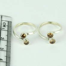 Sweet Eternal Brown CZ 925 Sterling Silver Toe Rings, Silver Jewelry India, Online Silver Jewelry