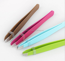 Top Quality Eyebrow Tweezers Slanted Tip/Different Colours With Best Quality